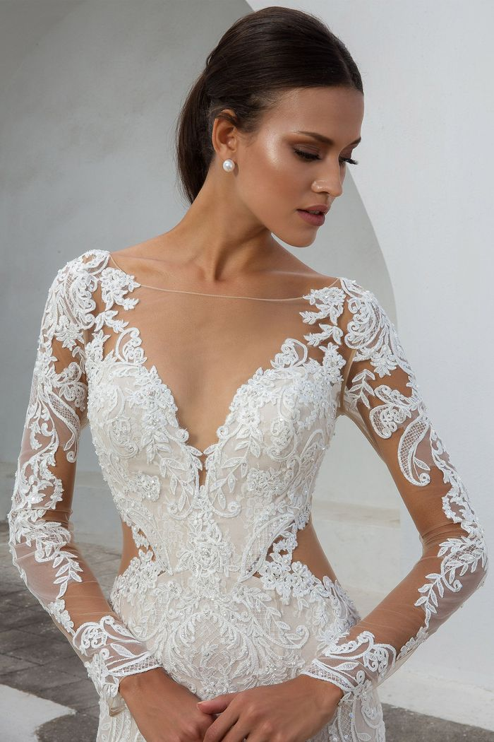 Justin Alexander style 88010 Lace Fit and Flare Gown with Illusion Long Sleeves
