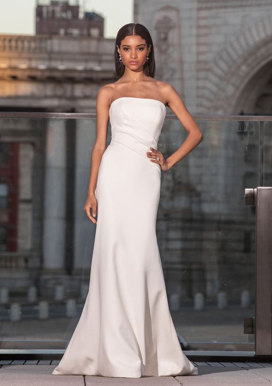 Justin Alexander Signature Style 99038 Asymmetrical Pleated Column Dress