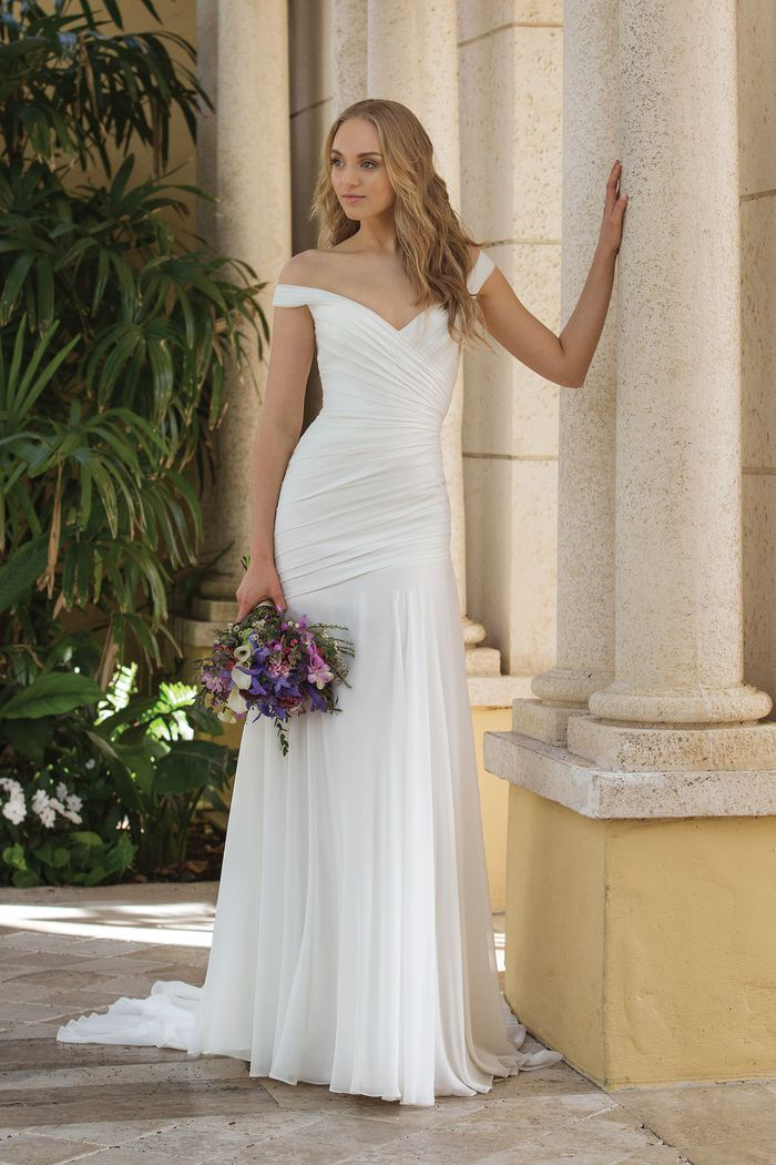 Sincerity Bridal Style 44084 Fit and Flare with Dropped Asymmetric Waistline