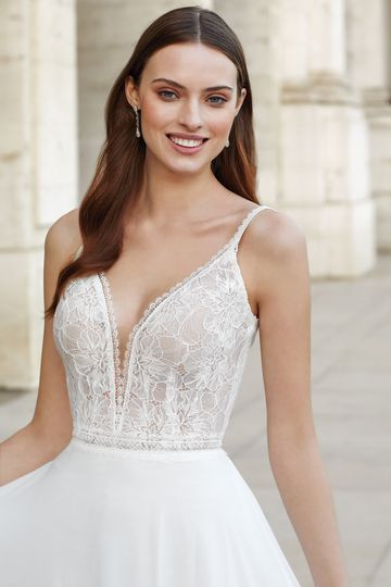 Adore by Justin Alexander Style 11148 A-Line Dress with Chantilly Lace Bodice and Chiffon Skirt