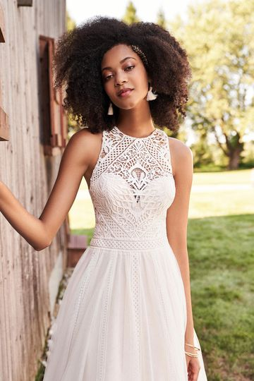 Lillian West Style 66189 Jewel Neckline A-Line Dress with English Net Skirt and Lace Trim