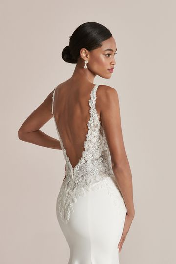 Justin Alexander Style 88212 Charlese Crepe Fit and Flare Dress with Embroidered Sequins and Beading
