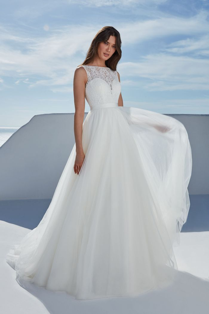 Justin Alexander Style 88190 Briony Lace Fit and Flare Gown with Sabrina Neckline