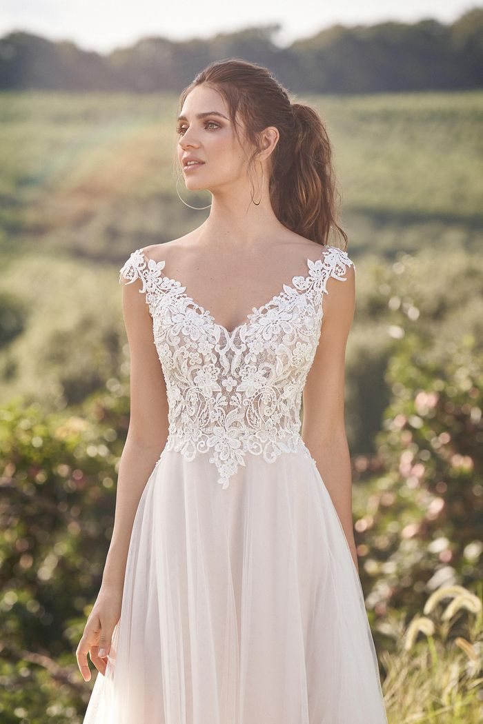 Lillian West Style 66133 Off The Shoulder Illusion Bodice Gown with Beaded Venice Lace