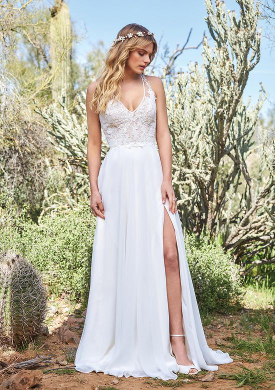 Lillian West Style 6515 Chiffon A-line Gown with Racerback and High Slit