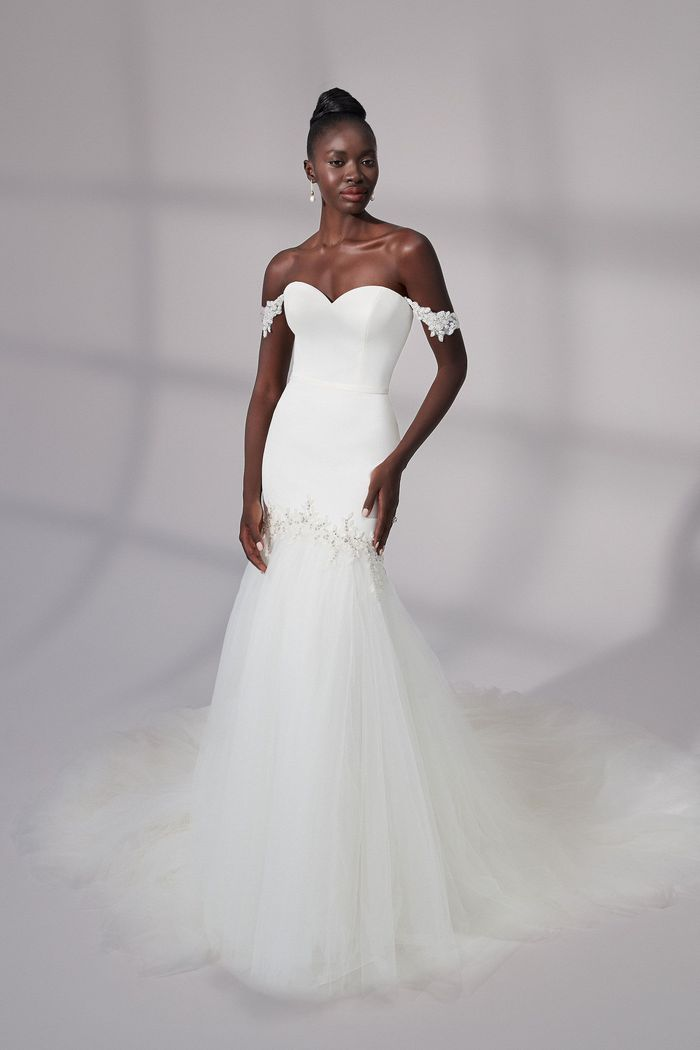 Justin Alexander Signature Style 99188 Summit Satin Trumpet Gown With Detachable Straps and Tulle Skirt