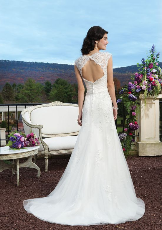 Sincerity Bridal Style 3813 Beaded lace A-line dress highlighted with a V-neck neckline