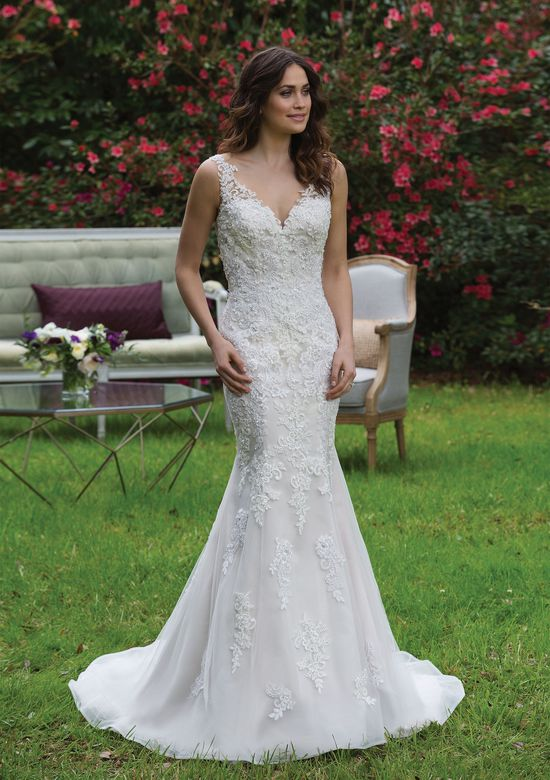 Sincerity Bridal Style 3946 V-Neck Fit and Flare Tulle Gown with Beaded Lace Appliques