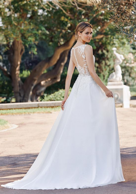 Sincerity Bridal Style 44131 Chiffon A-Line dress with Chapel Length Train