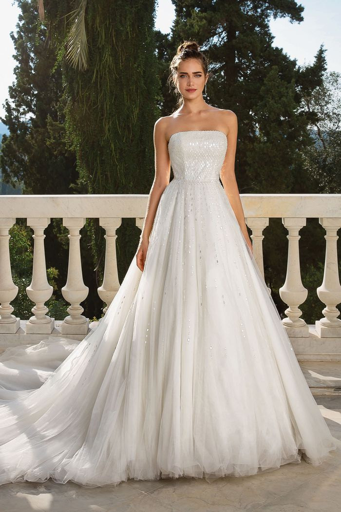 Justin Alexander style 88070 Strapless Beaded Tulle Ball Gown with Chapel Length Train