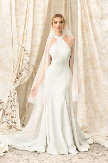 Justin Alexander Signature Style 9905 High-Neck Fit and Flare Gown with Bow Back