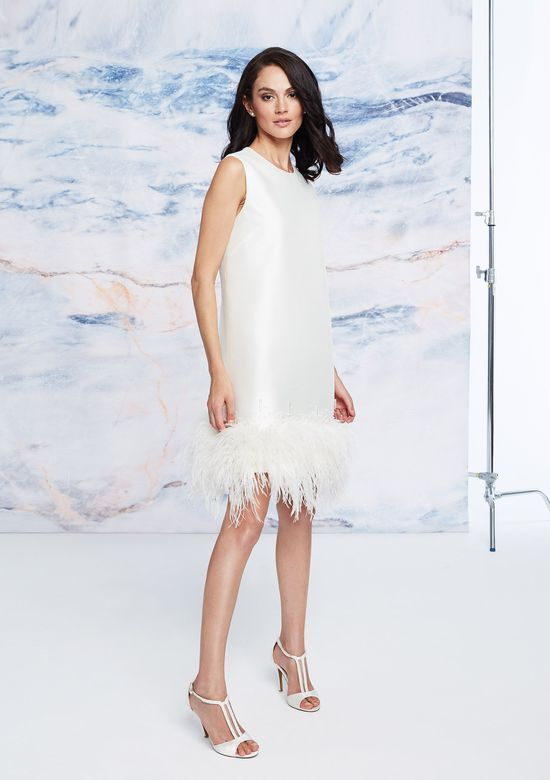 Justin Alexander Signature Style 99057 Knee-Length Mikado Dress with Ostrich Feather Hem