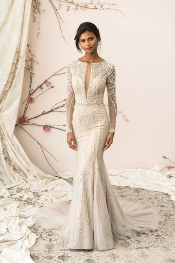 Justin Alexander Signature Style 9894 Plunging V-Neck Allover Beaded Fit and Flare Gown