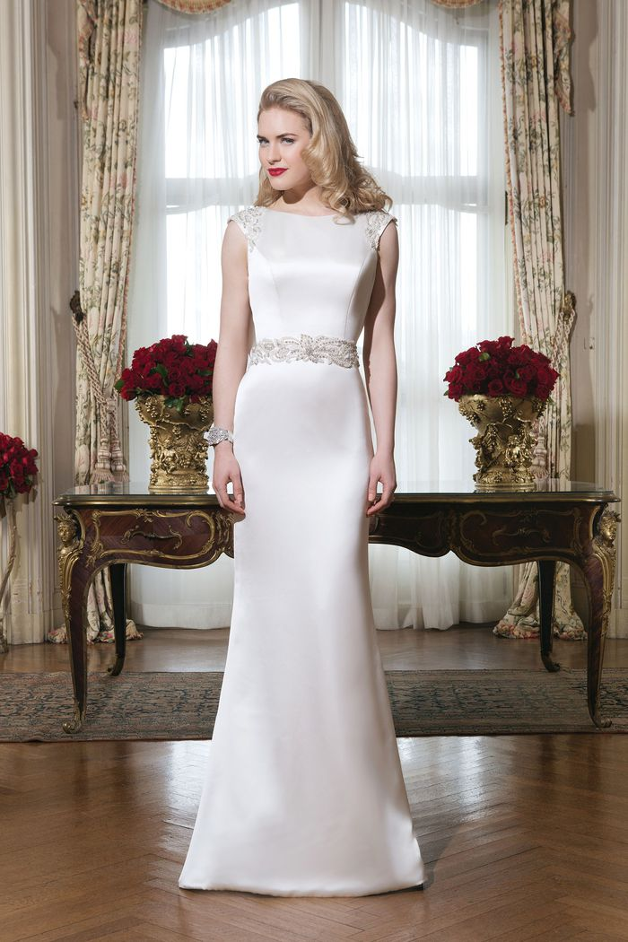 Justin Alexander Style 8764 Charmeuse Form-Fitting Dress with Beaded Waist