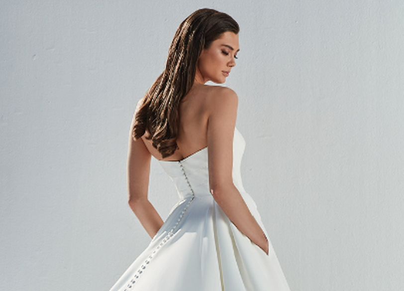 Justin Alexander Style 88167 Berkley Satin Ball Gown with Straight Neckline and Box Pleats