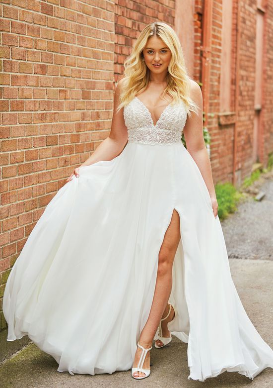 Justin Alexander style 88035 Heavily Beaded Illusion Bikini Bodice A-line Gown Iskra Lawrence