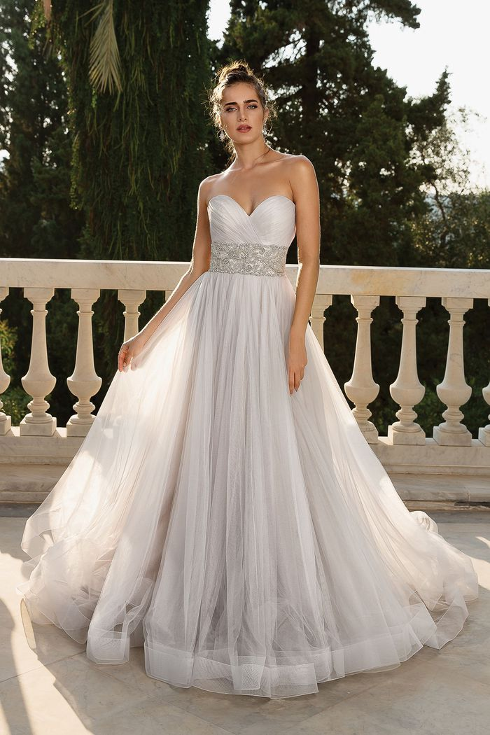 Justin Alexander style 88102D English net ball gown with beaded cummerbund