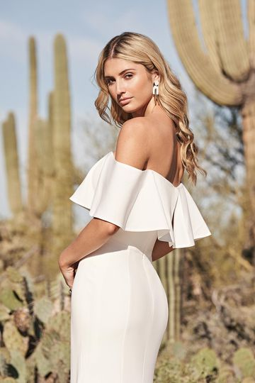 Lillian West Style 66151 Stretch Crepe Fit and Flare Gown with Off the Shoulder Flounce