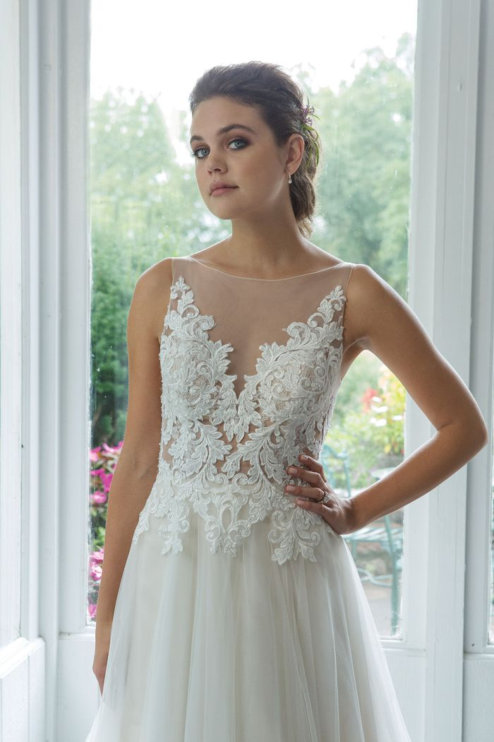 Sweetheart style 11085 A-line English Net Gown with Illusion Sabrina Neckline