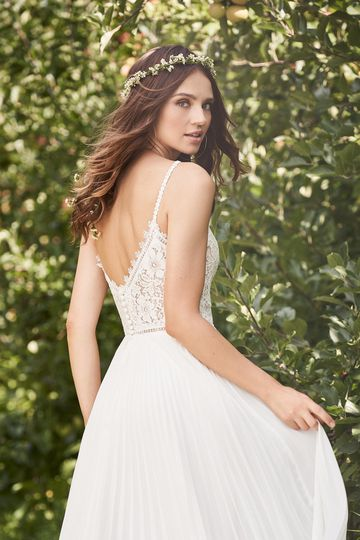 Lillian West Style 66125 Lace Plunge A-Line Dress with Accordion Pleated Chiffon Skirt