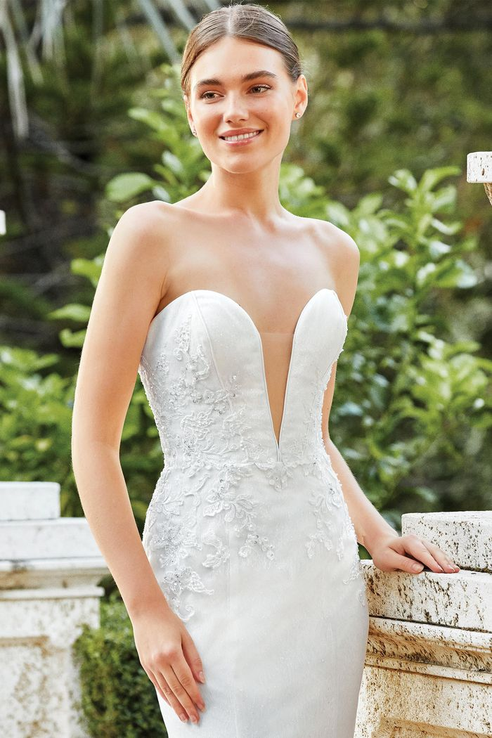 Sincerity Bridal Style 44201 Strapless Gown with Beaded appliqués and Sparkle Tulle