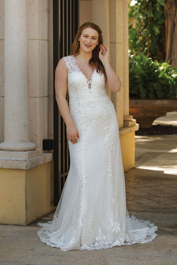 Sincerity Bridal Style 3913PS Plunging V-Neck Plus Size Gown with Lace Appliqués and Open Back