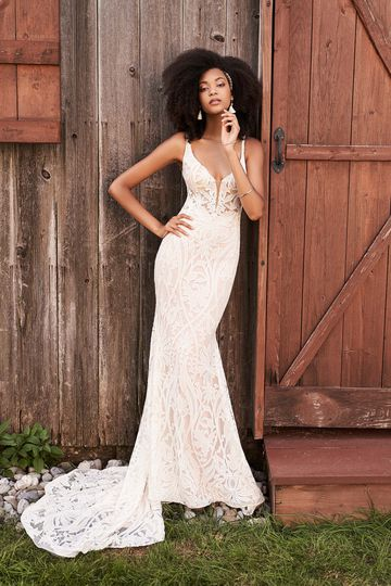 Lillian West Style 66187 Plunging V-Neck Dress with Embroidered Chiffon Allover Lace