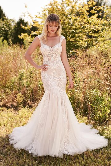 Lillian West Style 66185 Lace Mermaid Dress with Unlined Bodice and Large Floral Appliqués