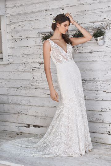 Lillian West style 66049 Chevron Lace Fit and Flare with Plunging Neckline