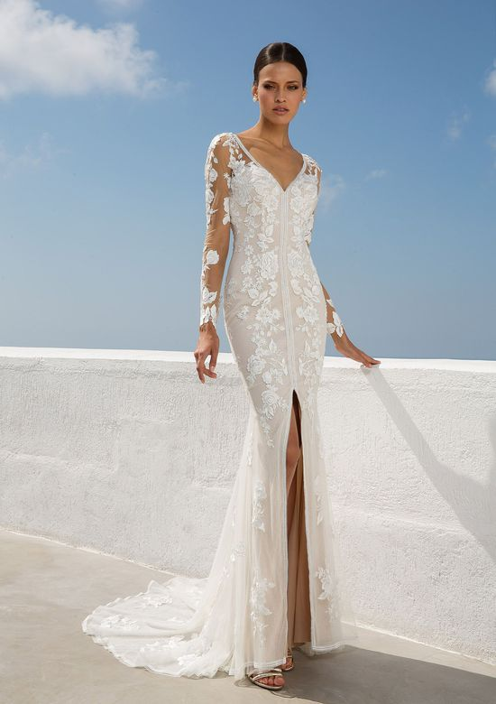 Justin Alexander Style 88008 V-Neck Lace Gown with Illusion Longsleeves