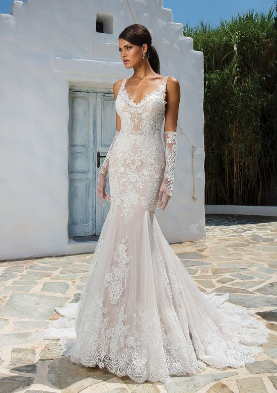 Justin Alexander Allover Lace Fit and Flare Gown with Illusion Straps and Deep V-Back