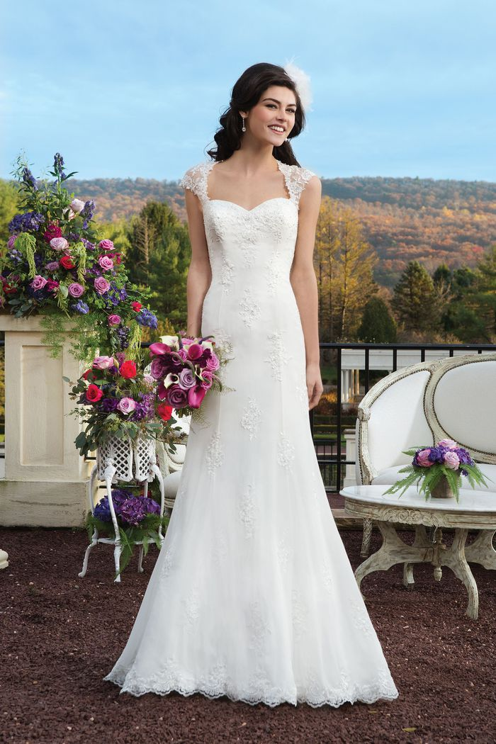 Sincerity Bridal Style 3802 Chiffon Floating Appliqué Fit and Flare Dress