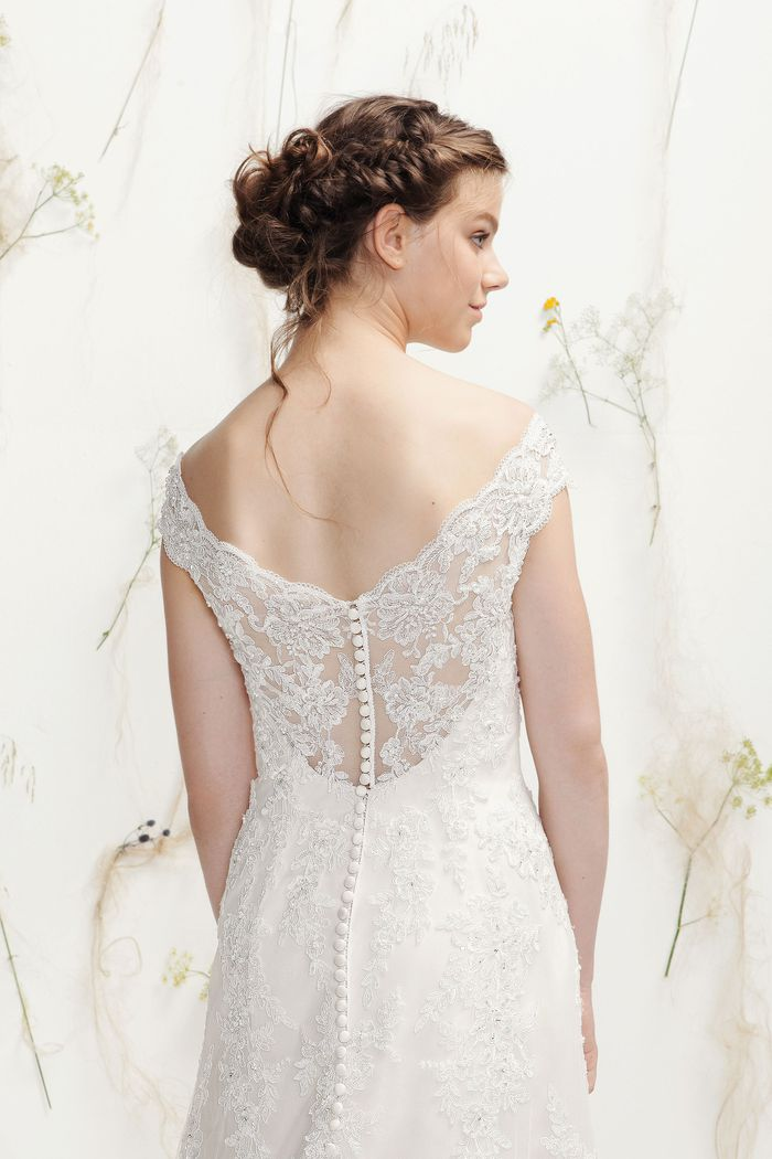 Lillian West Beaded Lace V-Neck A-Line Gown with Illusion Back