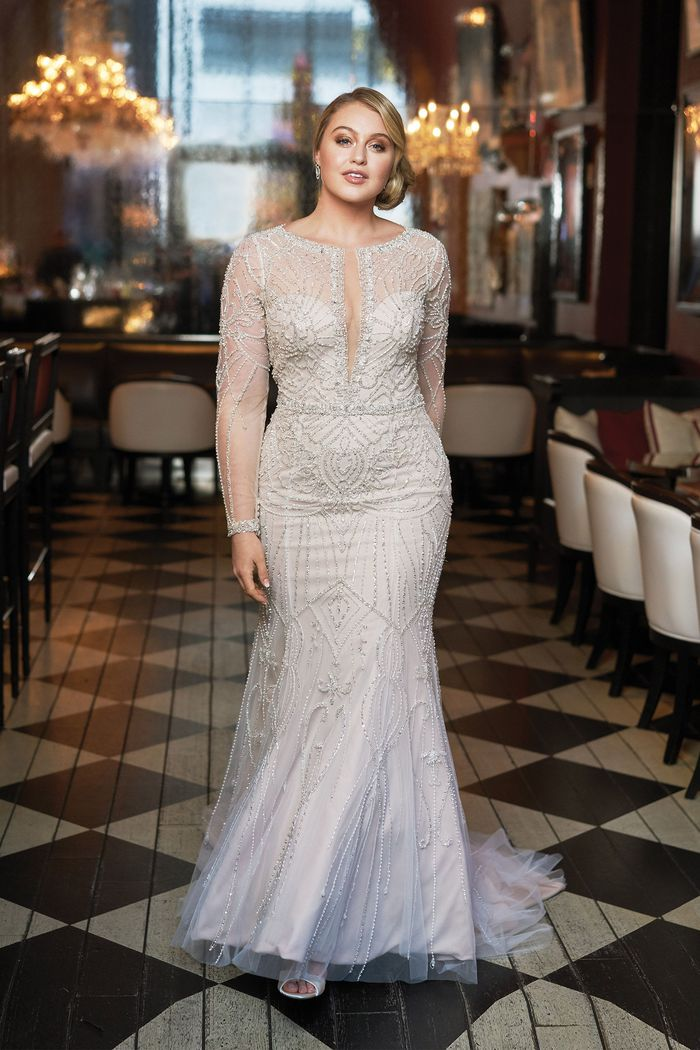 Justin Alexander Signature Style 9894 Plunging V-Neck Allover Beaded Fit and Flare Gown Iskra Lawrence