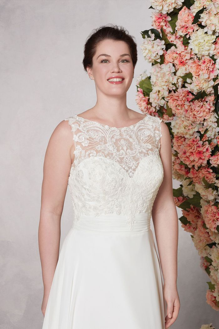Sincerity Bridal Style 44085PS A-line Plus Size Bridal Gown with Beaded Lace Bodice and Cummerbund
