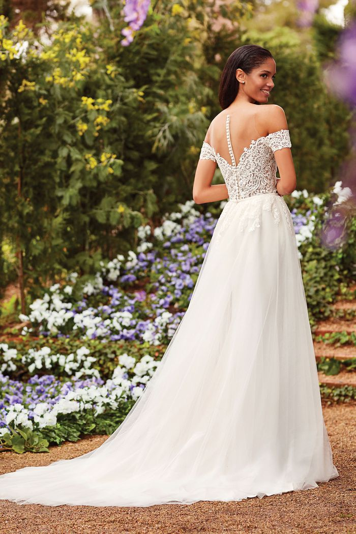 Sincerity Bridal Style 44167DT Off the Shoulder Fit and Flare Gown with Detachable Tulle and Lace Train