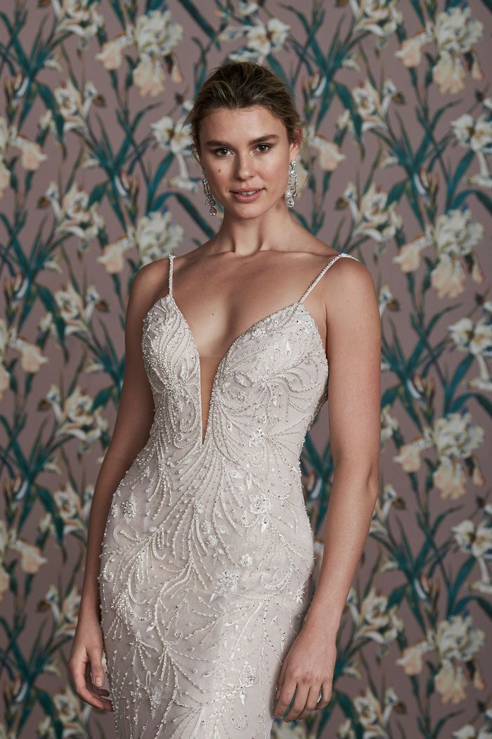 Justin Alexander Signature Style 99163 ELLA Beaded Fit and Flare with Plunging Neckline and Back Strap Detail