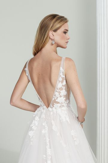 Justin Alexander Signature Style 99213 Katharine Tulle A-Line Wedding Gown with 3D Floral Appliqués