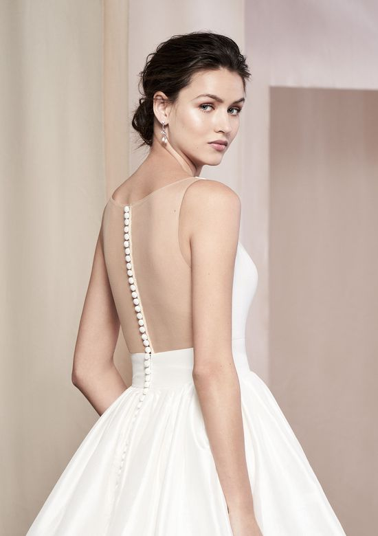 Justin Alexander Signature Style 99091 Azalea Silk Dupion Gown with Illusion Back