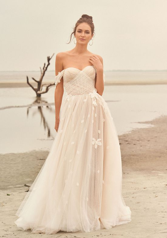 Lillian West Style 66110 A-Line Gown with Floral Details and Detachable Sleeves