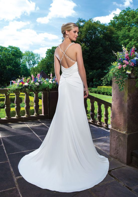 Sincerity Bridal Style 3861 Stretch satin straight embellished by a sweetheart neckline.