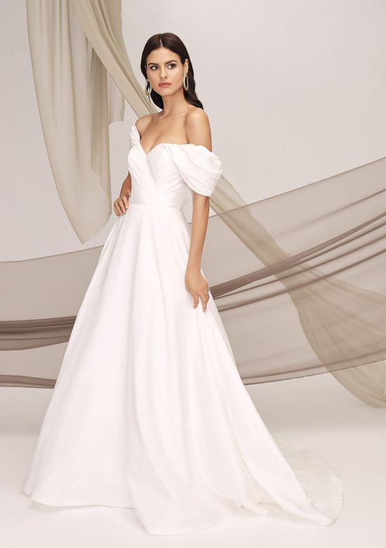Justin Alexander Signature Style 99122 HARLEM Silk Dupion Gown with Dramatic Off the Shoulder Sleeves