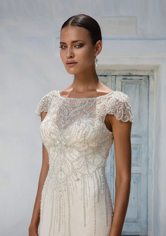Justin Alexander Allover Beaded Tulle Fit and Flare Gown with Cap Sleeves