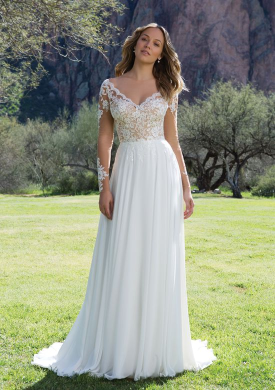 Sweetheart Gowns Lace V-Neck Gown with Illusion Sleeves and Keyhole Back