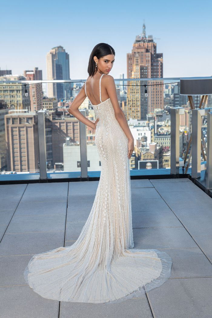 Justin Alexander Signature Style 99046 Allover Beaded Sweetheart Neckline Fit and Flare Gown