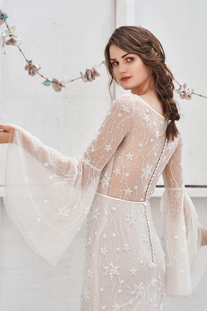 Lillian West Style 66057 Shooting Star Beaded Bell Sleeve Dress