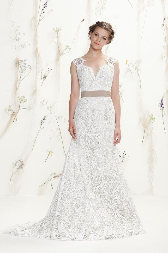 Lillian West Style 6418 Lace Slim A-Line with Sweetheart Neckline