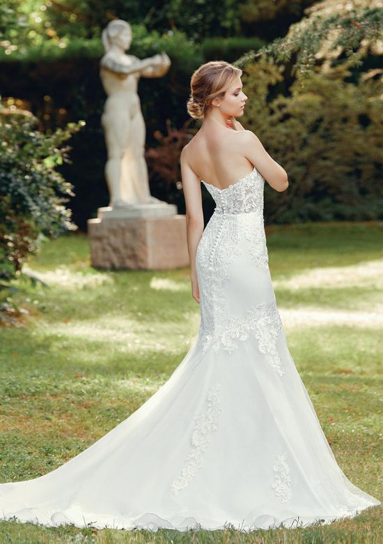 Sincerity Bridal Style 44117 Strapless Mermaid Gown with Organza and Venice Lace