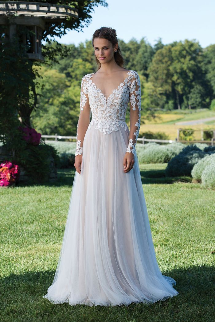 Sincerity Bridal Style 3972 Venice Lace Gown with Illusion Bodice and Sleeves