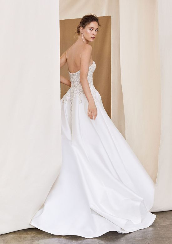 Justin Alexander Signature style 99061 Aspen Beaded Illusion Bodice with Silk Mikado Skirt Ball Gown